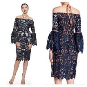 NWT Alexia Admor Navy Lace Off Shoulder Dress